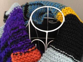 ローゲージ 手編みのマフラーの画像