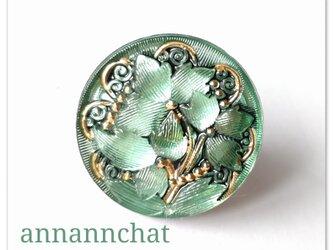 【アールヌーボー ゴールド・ミントグリーンのお花のリング】の画像