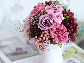 souvenir (スヴェニール) プリザーブドフラワー パープル/ラベンダー 結婚祝い・喜寿祝・退職祝いの画像