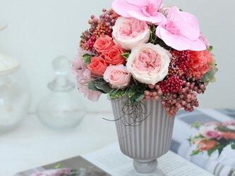 parure (パリュール) プリザーブドフラワー ピンク/オレンジ 結婚祝い・開店祝い・新築祝いの画像