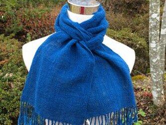 【畑からの優しい贈り物】 手紡ぎオーガニック和綿藍染マフラーの画像