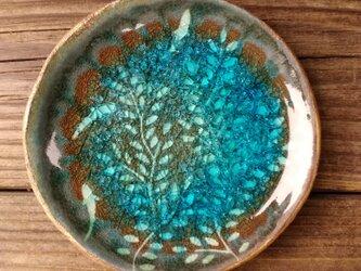 空色みずたまり小皿 枝葉と魚 no. 38の画像