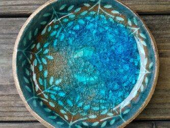 空色みずたまり小皿 枝葉と魚 no. 40の画像