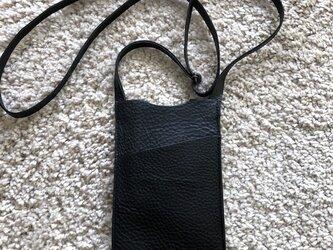 イタリアンレザー「アリゾナ」スマホショルダーポケットつき・ブラックの画像