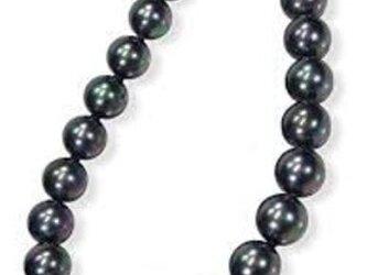 黒真珠8mm42cm磨き貝 ネックレスイヤリングセット ピーコックの画像