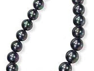 黒真珠ネックレス・ピーコック系カラー/黒蝶貝パール9.0ミリアップ45cmの画像