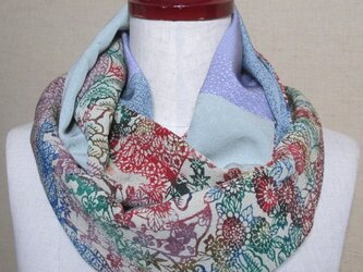 着物リメイク 上質な型染の縮緬着物×江戸小紋から作ったスヌードの画像