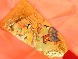 手描きハンドメイドの羽子板で、「紫式部日記」五十日祝いの場面です。の画像
