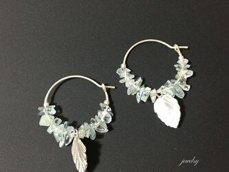 Drop Aquamarine earrings- silverの画像