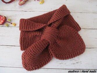 手編みマフラー  木の葉マフラー マロンブラウンの画像