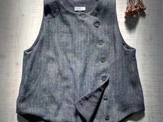 odd vest [ウールリネン][navy]の画像