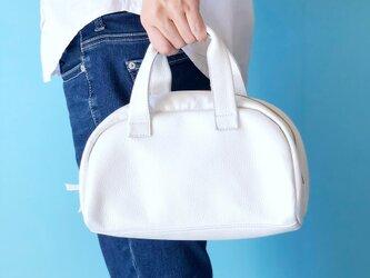 キラキラホワイト ミニボストン ハンドバッグ 本革 パールホワイトの画像