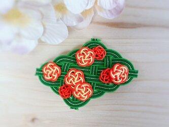 【つるバラの庭】水引製バレッタ カクテル コクテールの画像