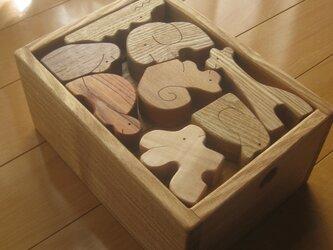 積み木(栗の木)タモの木箱の画像