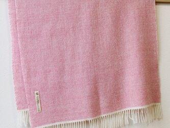 ホームスパン大判ストール ウール×カシミヤ ピンクの画像