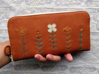 刺繍革財布『LIFE』キャメル×黄色系(牛革)ラウンドファスナー型の画像