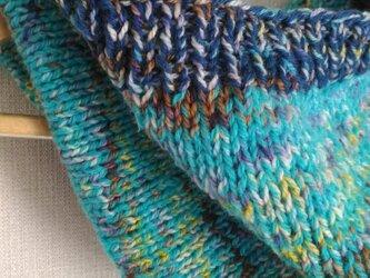 SALE!!手編みのネックウォーマー。 エストニアのラムウールと手染めのメリノの画像