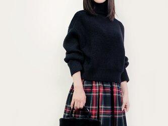 ウール 黒×赤×青×緑 タータンチェック ロングスカート ●CHELSEA●の画像