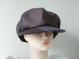 魅せる帽子☆大きいサイズ♪メンズライクのハンチング風キャスケット~ブラウンの画像