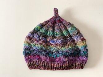 1点限定!どんぐりニット帽子 野呂英作毛糸使用 パープルグレープの画像
