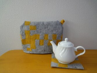 羊毛フェルト*ティーポットカバー&マット グレーの画像
