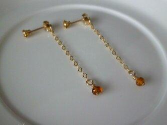 swing earrings - citrine 14kgfの画像
