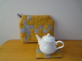羊毛フェルト*ティーポットカバー&マット マスタードの画像