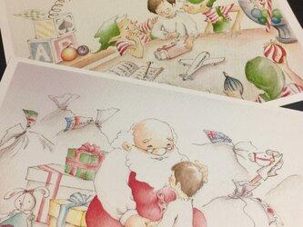 Santa Claus & elf's  01  ポストカードの画像
