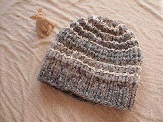 極太国産ウールのニット帽【グレー】の画像