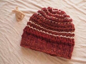 極太国産ウールのニット帽【レッド】の画像