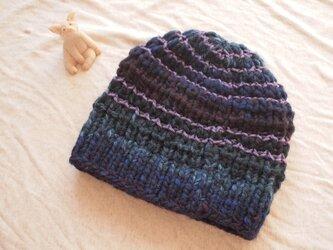 極太国産ウールのニット帽【ブルー】の画像