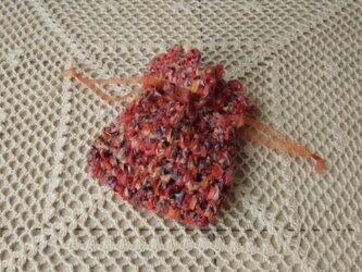 古布(裂き編み)のミニ巾着 ・橙の画像