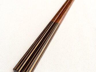 《再販》摺り漆の箸 〈金ストライプ・黒〉の画像