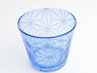 東京切子(花切子)グラス 千代紙 青の画像