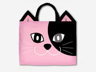 PinkCatのレッスンバッグ ブラック×ピンク<2020年新作>の画像