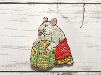 手刺繍日本画ブローチ*川崎巨泉「丙子鼠」の画像