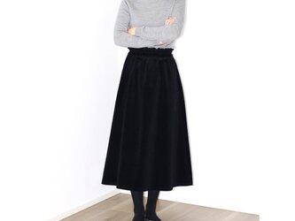 濃紺 コーデュロイ ギャザーフレアロングスカート【着丈・ウエスト調節可】の画像