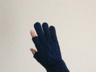 【受注制作】メンズスマホ対応手袋メリノウール100%ネイビーの画像