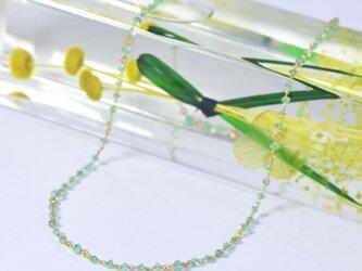 アンティークビーズのエメラルド x k18YG ネックレスの画像