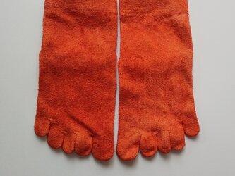 インド茜染め シルク靴下 五本指くつ下 シルク  *ソックス の画像
