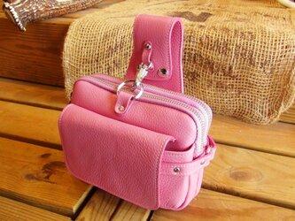 牛革ウエストポーチ(ピンク)の画像