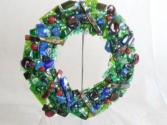 ステンドグラスフュージング クリスマスリースの画像