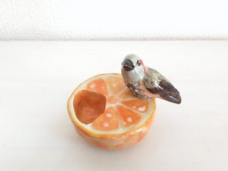 印鑑スタンド(陶)ヒヨドリ&みかんの画像