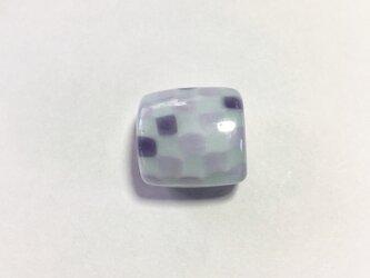 モザイクの帯留(水色×グレー)の画像