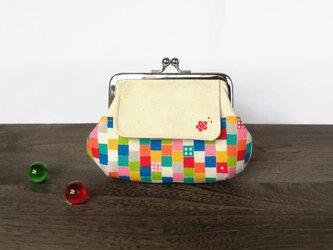 ★お財布サイズ★サイコロと小梅の ぷっくりポケット付きがま口の画像