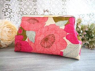 ◆【再販2】【新色!】ホットピンクの芥子の花がま口ポーチ*花柄フラワー和柄がま口バッグの画像