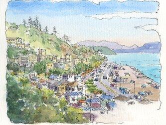 注文制作します 水彩画原画 湘南七里ヶ浜風景15(#376)の画像