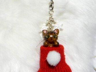 にゃんこのしっぽ○クリスマス〇赤いくつしたストラップ〇きじとら猫の画像
