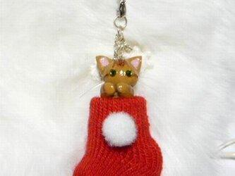 にゃんこのしっぽ○クリスマス〇赤いくつしたストラップ〇ベンガル〇猫の画像