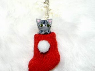 にゃんこのしっぽ○クリスマス〇赤いくつしたストラップ〇アメリカンショートヘア〇猫の画像